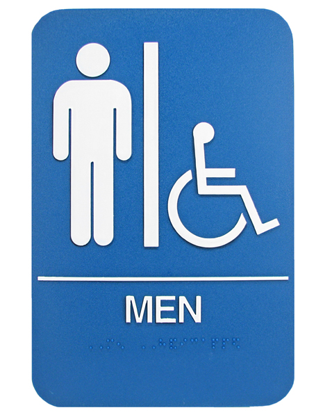 "6"" X 9"" BLUE ADA MENS SIGN W/ BRAILLE"