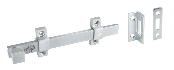 "6"" HD DULL CHROME SECURITY BOLT"