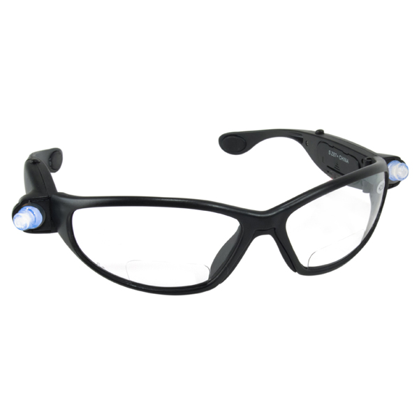INSPECTORS SAFETY GLASSES W/LED LIGHTS & 2.00 READER LENS