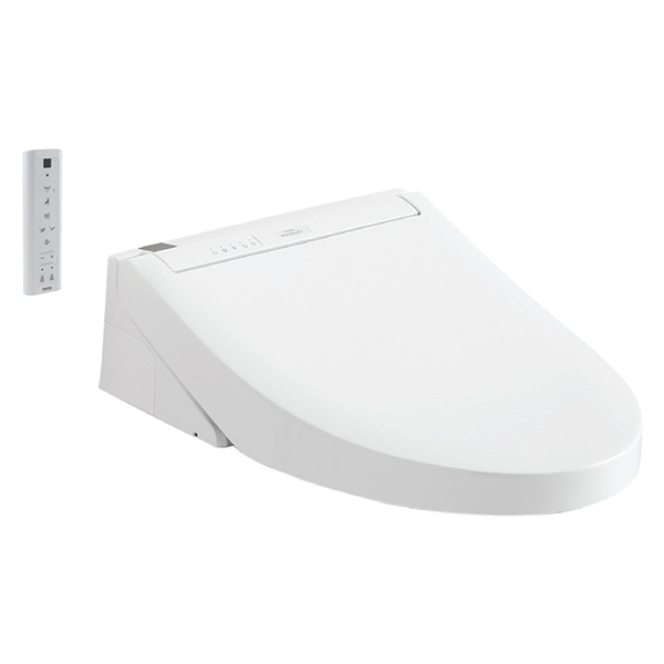 WHITE ELONGATED FRONT WASHLET TOILET SEAT W/ COVER & REMOTE
