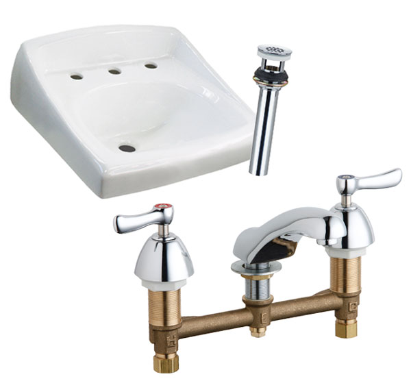"8"" WALL MT SINK AND GRID DRAIN PACKAGE"