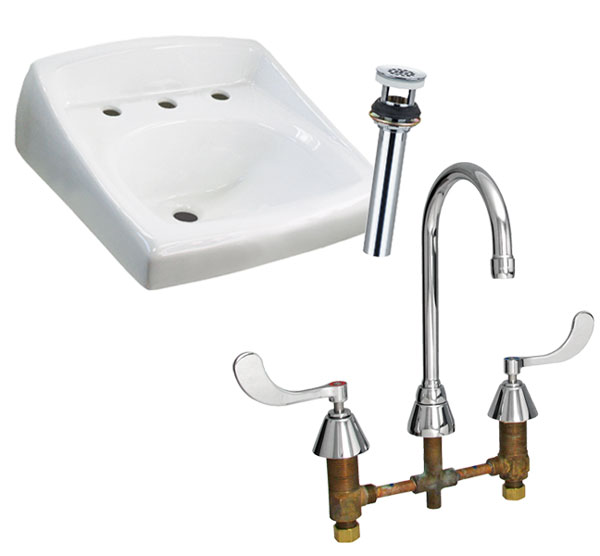 "8"" WALL MOUNT SINK AND GRID DRAIN PACKAGE"