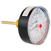 "1/2"" MNPT REAR MOUNT EXTENDED PROBE TEMP & PRESSURE GAUGE (60-280°F)"