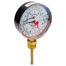 "1/2"" MNPT BOTTOM MOUNT EXTENDED PROBE TEMP & PRESSURE GAUGE (60-280°F)"