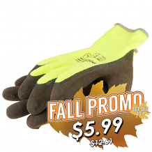 THERMO NYLON KNIT GLOVE W/ACRYLIC LINER AND LATEX GRIP YELLOW (LARGE)