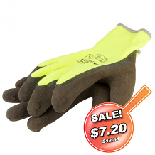 THERMO NYLON KNIT GLOVE W/ACRYLIC LINER AND LATEX GRIP YELLOW (XX-LARGE)