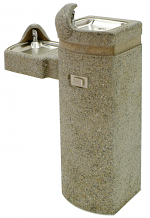 MURDOCK - ADA BI-LEVEL PEDESTAL MOUNTED SQUARE CONCRETE FOUNTAIN