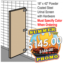 "18"" X 42"" POWDER COATED STEEL URINAL SCREEN W/HDWE"