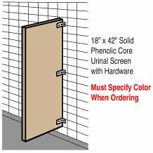 "18"" X 42"" SOLID PHENOLIC CORE URINAL SCREEN W/HDWE"