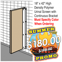 "18"" X 42"" HIGH DENSITY POLYMER URINAL SCREEN W/CONT BRACKET"