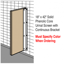 "18"" X 42"" SOLID PHENOLIC CORE URINAL SCREEN W/CONT BRACKET"