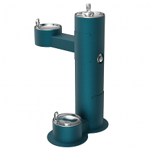 ELKAY - OUTDOOR BI-LEVEL ADA PEDESTAL FOUNTAIN W/ PET STATION