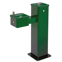 HAWS - DRINKING FOUNTAIN HI-LO SUPERIOR-DUTY VANDAL RESISTANT SQUARE GREEN POWDER COAT FINISH