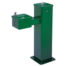 HAWS - FREEZE RESISTANT DRINKING FOUNTAIN HI-LO SUPERIOR-DUTY VANDAL RESISTANT SQUARE GREEN POWDER COAT FINISH