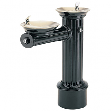 HAWS - FREEZE RESISTANT DRINKING FOUNTAIN HI-LO CAST ALUMINUM BLACK POWDER-COATED BASE, SS BOWLS