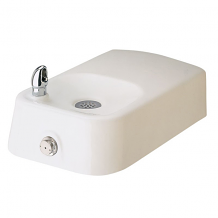 HAWS - BARRIER-FREE DRINKING FOUNTAIN W/ WHITE ENAMELED IRON INTEGRAL BOWL