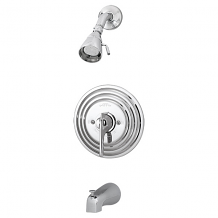 CP TUB & SHOWER VALVE W/ STOPS, SHOWER HEAD & TUB SPOUT