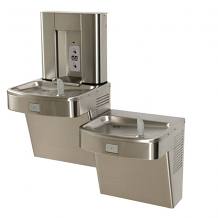 BARRIER-FREE BI-LEVEL PUSHBUTTON WATER COOLER & SENSOR ACTIVATED BOTTLE FILLER SS W/ FLEXIBLE BUBBLER
