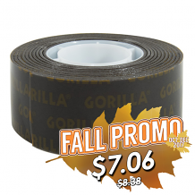 GORILLA BLACK DOUBLE SIDED MOUNTING TAPE 1 IN. X 60 IN.HEAVY DUTY HOLDS UP TO 30 LBS