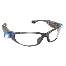 LED INSPECTORS SAFETY GLASSES W/LED LIGHTS GREEN CAMO FRAME /CLEAR LENS