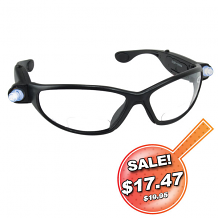 INSPECTORS SAFETY GLASSES W/LED LIGHTS & 2.50 READER LENS