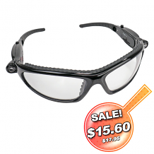 LED INSPECTORS SAFETY GLASSES W/LED LIGHTS BLACK FRAME /CLEAR LENS