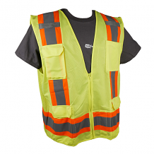 11 POCKET YELLOW SURVEYORS VEST W/ ZIPPER CLOSURE - CLASS 2