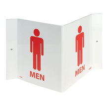 "3-VIEW MEN'S ROOM SIGN 6"" X 9"" - RED ON WHITE"
