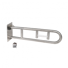 "30"" X 1-1/4"" FOLD UP PEENED GRAB BAR WITH INTEGRATED TISSUE HOLDER"