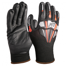 G-TEK ® SEAMLESS KNIT BLACK/GRAY/RED SHELL IMPACT PROTECTION GLOVE W/ NITRILE COATING (MED)