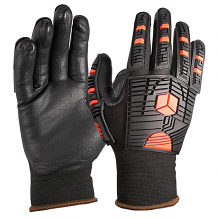G-TEK ® SEAMLESS KNIT BLACK/RED SHELL IMPACT PROTECTION GLOVE W/ NITRILE COATING (MED)