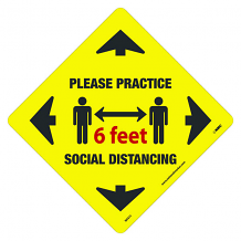 "12"" x 12"" DIA SHAPED SOCIAL DISTANCING FLOOR SIGN - ADHESIVE BACKED VINYL"