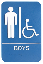 "WALL ADA BOYS W/CHAIR & BRAILLE 6"" X 9"" SIGN"