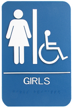 "WALL ADA GIRLS W/CHAIR & BRAILLE SIGN 6"" X 9"""