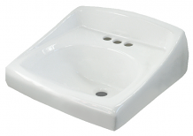 "LAVATORY ADA VITREOUS CHINA W/ BACKSPLASH - 4"" CENTERS WALL MOUNT"