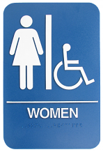 "WALL ADA WOMEN W/CHAIR & BRAILLE 6"" X 9"" SIGN"