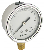 "2.5"" 0-100 LIQ FILLED S/S PRESSURE GAUGE"