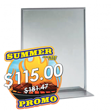 "18"" x 24"" S/S CHANNEL MIRROR W/SHELF"