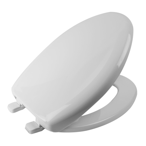 WHITE ELONG CLOSET SEAT CLOSED FRONT W/LID