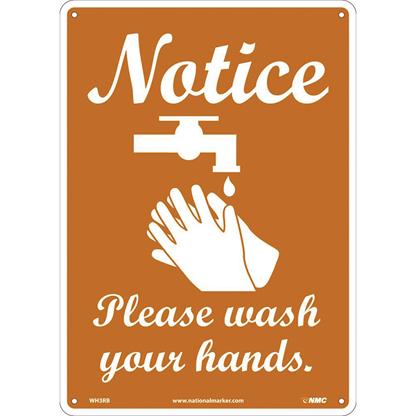 """14"""" X 10"""" SIGN - NOTICE - PLEASE WASH YOUR HANDS"""
