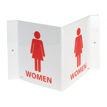 """3-VIEW WOMEN'S ROOM SIGN 6"""" X 9"""" - RED ON WHITE"""