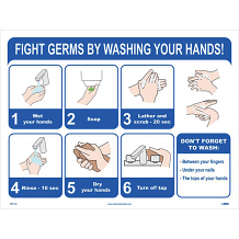 "18"" X 24"" SIGN - FIGHT GERMS BY WASHING YOUR HANDS"