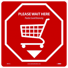 "12"" x 12"" PLEASE WAIT HERE - SOCIAL DISTANCING FLOOR SIGN, ADHESIVE BACKED VINYL"