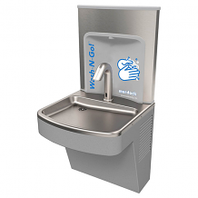 BARRIER FREE WALL MT HAND WASHING STATION-GRAY FINISH