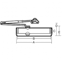 PARALLEL HOLD-OPEN ARM ADA DOOR CLOSER WITHOUT COVER - SATIN ALUMINUM