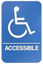 WALL ADA ACCESSIBLE W/CHAIR & BRAILLE SIGN