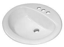 """OVAL - VITREOUS CHINA LAVATORY - 4"""" CENTERS DROP-IN"""